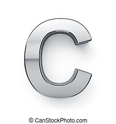 c, render, alfabeto, -, metalic, carta, simbol, 3d