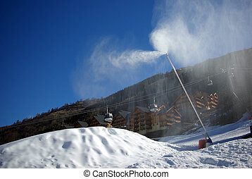 cañón, 2, nieve, vertical