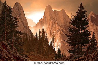cañón, rockies, montaña