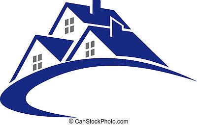 cabaña, casa, símbolo, moderno, o