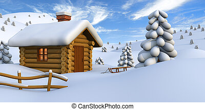 Cabaña de estacionamiento en el campo nevado