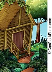 Cabaña de madera en el bosque profundo