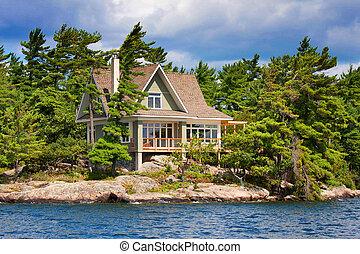 cabaña de madera, lago