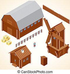 Cabañas de madera y casa. Arte del vector