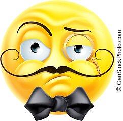 caballero, icono, emoji, arrogante, presumido, emoticon, elegante