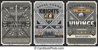 caballero, lanzas, sabres, armas, viking, espadas