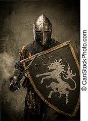 Caballero medieval con espada y escudo contra pared de piedra