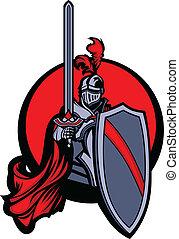 Caballero medieval con espada y espinilla