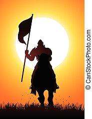 Caballo a caballo llevando bandera