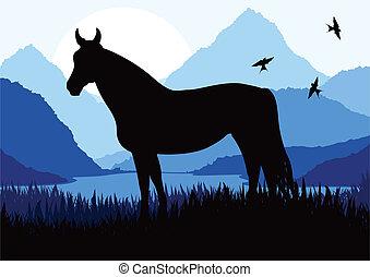 Caballo animado en la naturaleza salvaje ilustración de paisajes