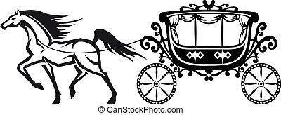 Caballo con carruaje antiguo