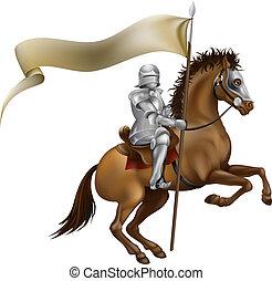 Caballo con lanza y estandarte