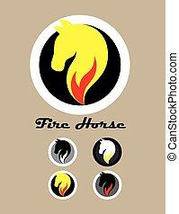 Caballo con logotipo de fuego