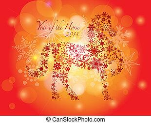 caballo, copos de nieve, patrón, año, nuevo, 2014, feliz
