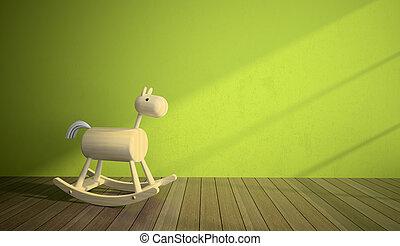Caballo de madera en el interior con pared verde
