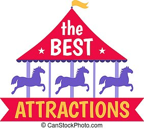 caballo, entretenimiento, plano, mejor, concepto, redondo, icono, carnaval, vector, carrusel, aislado, diversión, atracciones, white., ilustración, circo