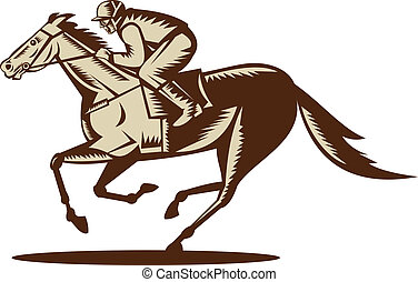 caballo, jinete, aislado, plano de fondo, blanco, carreras, lado, visto