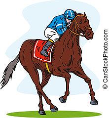 caballo, jinete, carreras, retro