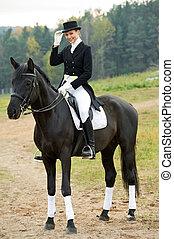 caballo, jinete, horsewoman, uniforme