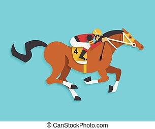 caballo, jinete, número, carrera, 4, equitación