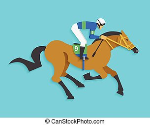 caballo, jinete, número, carrera, 9, equitación