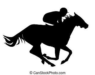 caballo, jinete, rápido