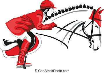 caballo, jinete, saltar