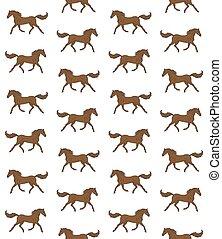 caballo, mano, vector, marrón, dibujado, seamless, patrón