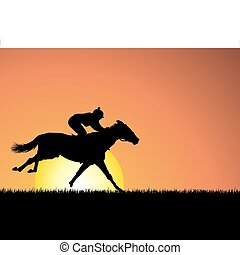 caballo, ocaso, plano de fondo