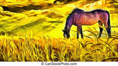 caballo, pasto