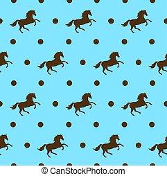 caballo, vector, marrón, patrón, seamless, puntos