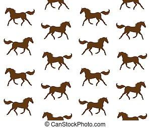 caballo, vector, marrón, silueta, seamless, patrón