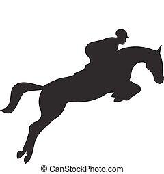 caballo, vector, silueta