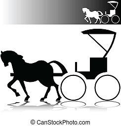 caballo, vector, siluetas, calesa