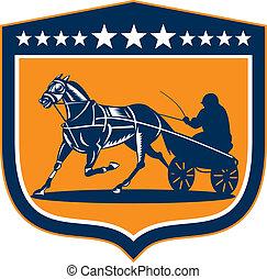 Caballo y jinete aprovechan el escudo retro