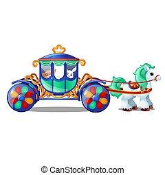 Caballos de circo animados llevan pequeños animales en el carruaje aislados en el fondo blanco. Ilustración de primer plano del vector.
