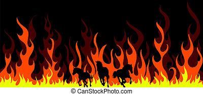 Caballos en llamas