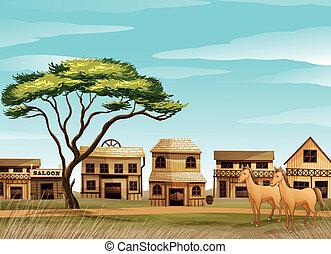 Caballos y una casa