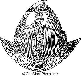 Cabaset alcanzó su punto máximo o grabado vintage de casco