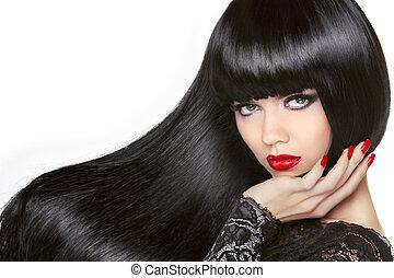 Cabello largo. Hermosa chica morena. Un peinado negro saludable. Rojo