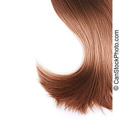 Cabello marrón saludable aislado en blanco