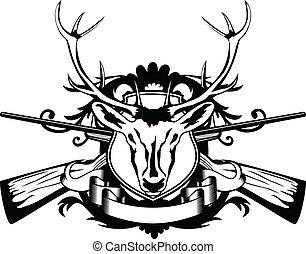 cabeza, artiodactyl, cruzado, armas de fuego