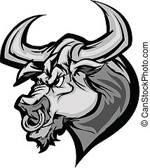 cabeza, ca, vector, toro, longhorn, mascota
