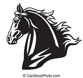 cabeza, caballo, negro, blanco