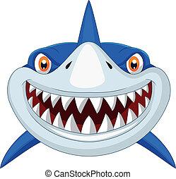cabeza, caricatura, tiburón