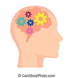 cabeza, cerebro, engranajes, dentro