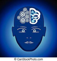 Cabeza, cerebro, engranajes, proceso de pensamiento humano.