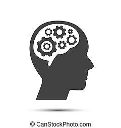 Cabeza con engranajes en el cerebro, objeto.