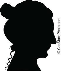 cabeza, dama, vector, silueta