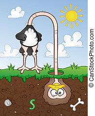 Cabeza de avestruz en la caricatura